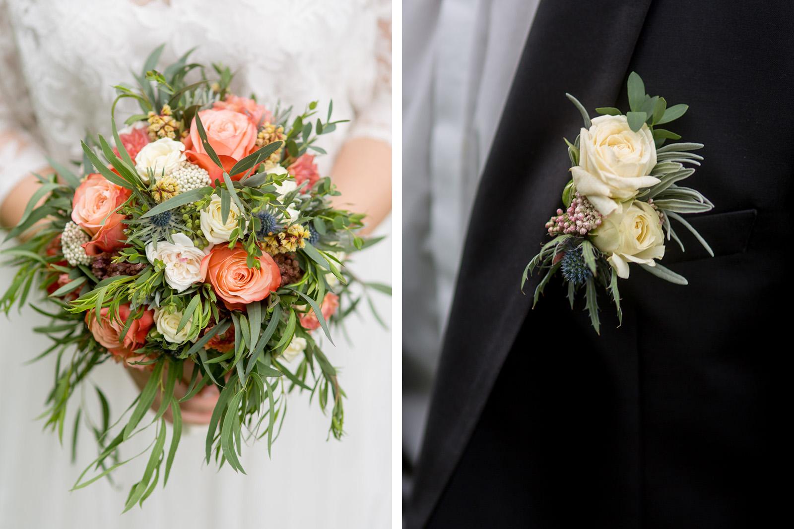Brautstrauss und Blume für Bräutigam